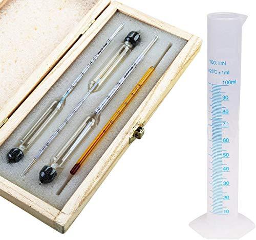 Tefeler Alkoholmeter Tester 3 pcs Hydrometer Meter Alkoholgehalt 0-100 Vol% Alkohol Vinometer + Thermometer + 100ml Messzylinder für alle Spirituosen/Destillate, Whisky, Brandy, Wodka etc