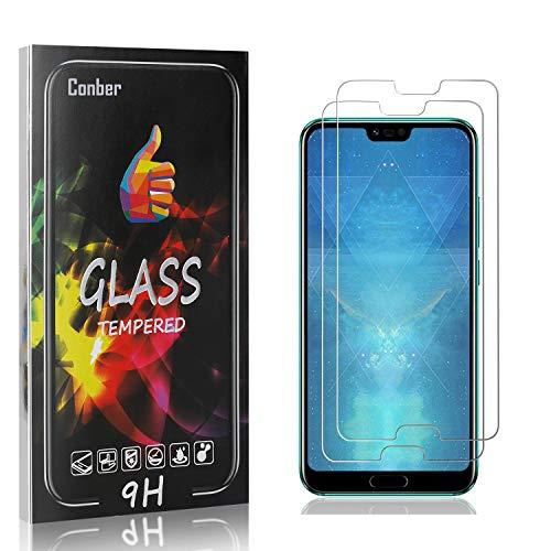 Conber [2 Pièces] Verre Trempé pour Huawei Honor 10, Compatible avec Coques, Dureté 9H vitre de Protection, Film Protection Ecran pour Huawei Honor 10