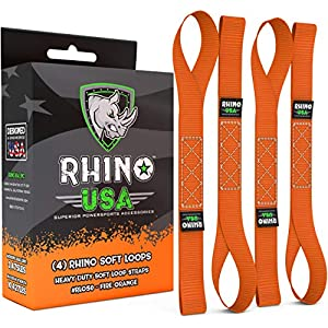 "RHINO USA Soft Loops Motorcycle Tie Down Straps (4pk) – 10,427lb Max Break Strength 1.7"" x 17"" Heavy Duty Tie Downs for use with Ratchet Strap – Secure Trailering of Motorcycles, Kayak, Jeep, ATV, UTV"