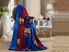 Supersoft Throw Blanket FCBarcelona logo and colors (Officially Licensed) Sherpa Lined for ultra warmth, yet not very heavy to use Machine wash cold, tumble dry low Makes a great gift idea!