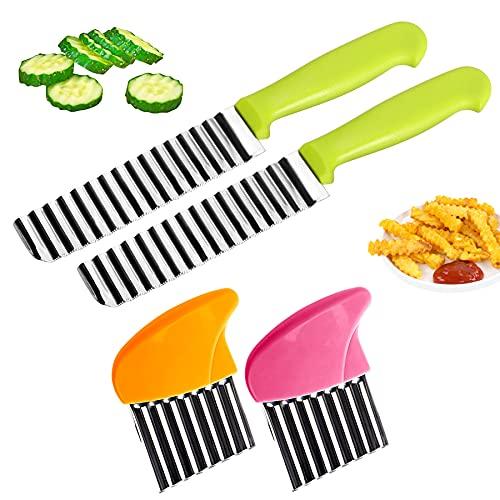 K·K Kartoffelschneider Messer, Edelstahl Pommes Wellenmesser mit Griff Kartoffel Wellenschneider Gemüsehobel Crinkle Cutter Messerset Welliger Chopper für Gemüse Kartoffeln Zwiebeln, 4 Stück