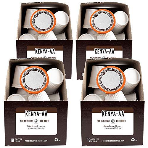 Fresh Roasted Coffee, Kenya AA, Med-Dark Roast, Kosher, K-Cup Compatible, 72 Pods