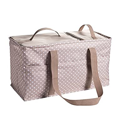 Large Utility Tote Bag With Handles, 2 Zippered Coolers, Heavy Duty Fabric - Beach Picnic Basket, Collapsible Grocery Cart, Insulated Lunch Bag for Work, Car Trunk Organizer For Women (Dots)