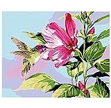 Pájaros y Flores Pintura de Bricolaje por Kits de Números Pintura Acrílica sobre Lienzo Pintura al Óleo Pintada a Mano para Decoración de Bodas 60X60Cm con Marco