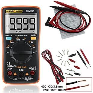 4EVERHOPE AN8009 Auto Range Handheld Digital Multimeter Test AC/DC voltage, DC Current, Resistance, Continuity, Diodes, Transistor for Auto, Electrical Engineering (Orange):Interdir