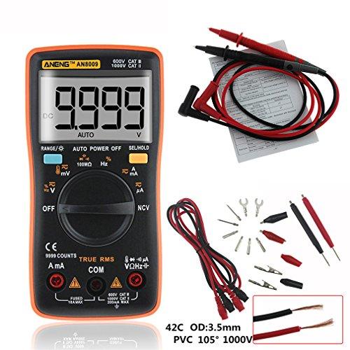 4EVERHOPE AN8009 Automatische Reichweite Handheld Digital Multimeter Test AC / DC Spannung, Gleichstrom, Widerstand, Kontinuität, Dioden, Transistor für Auto, Elektrotechnik Orange