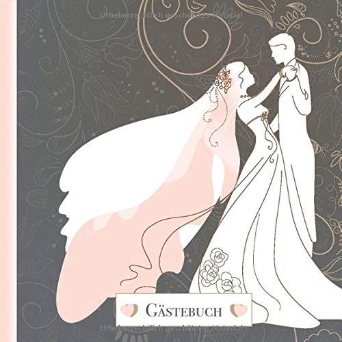 Gästebuch: Hochzeit Vintage Brautpaar Rosa Grau I für 60 Gäste I Blanko mit Geschenkeliste I...