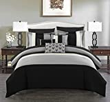 Chic Home BCS00842-AN Ayelet 10 Piece Comforter Set Color Block Ruffled Bag Bedding-Decorative Pillows Shams Included, Queen, Black