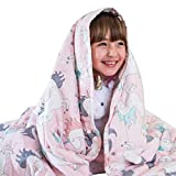 Luna Kids Weighted Blanket - Individual Use - 10 Lbs - 41x60 - Twin Size Bed - 100% Oeko-Tex Cooling Cotton & Glass Beads - USA Designed - Heavy Cool Weight - Pink Unicorn