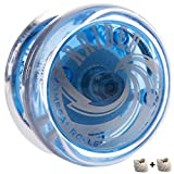 Yomega Raider - Yoyó con rodamientos de Bolas de Respuesta Profesional, diseñado para el Juego avanzado de Trucos de Cuerda y bucles + 2 Cuerdas Extra (Azul)