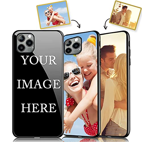 Custom Phone Case for iPhone 11 12 Pro Max,Support Customized for All iPhone Model Make Your Own Phone Case, Personalized Photo Gift for Birthday Xmas Valentines Best Friends Her and Him, Black