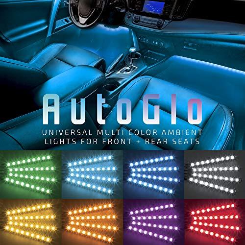Merkury Innovations AutoGlo, LED Car Interior Lights, Remote Control, Adhesive Strip Lights, 12C Car Adapter, Multicolor (4 pcs), Lights for TikTok