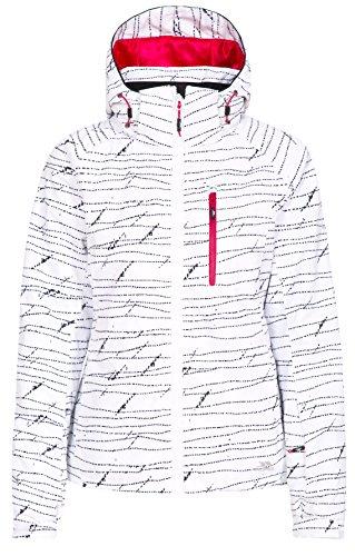Trespass Oya, White Print, XL, Wasserdichte Skijacke mit abnehmbarer Kapuze, Skipasstasche & Schneefang für Damen, X-Large, Weiß
