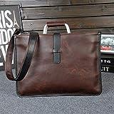 RSZHHL maletín Crazy Horse PU Bolsa de Cuero Hombre diseñador de la Marca maletín Vintage Business Office File Bag Messenger Casual Work Bags Tote38x28x1.5 cm
