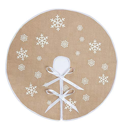 N&T NIETING Round Snowflake Santa Claus Christmas Holiday Burlap Tree Skirt, 30 Inches