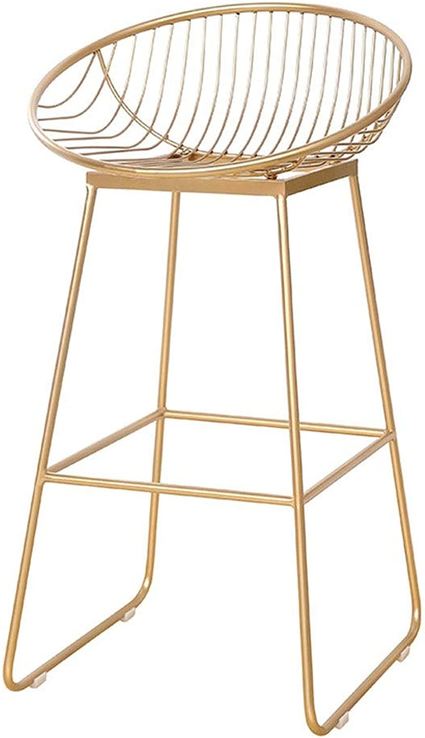 Metal Bar Stool European Backrest High Stool Simple Cafe Bar Seat Home Dining Chair Stool (color   gold, Size   42cm)
