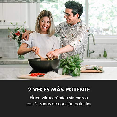Klarstein EasyCook Domino palca de cocina cerámica - encastrable, sin bordes, 29 cm, 2 zonas, 3000 W, regulador giratorio, luces de control, vidrio tintado, negro