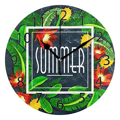 Reloj de pared decorativo para el hogar, oficina, silencioso, de madera, 25,4 cm, para sala de estar, oficina (hojas tropicales de verano)