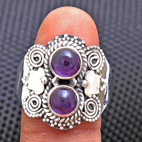 Solid 925 Sterling Silver Rings for Women & Girls, Sterling Silver Amethyst Rings, Bridesmaid Rings, 2-Stone Christmas Gift, Handmade Jewelry