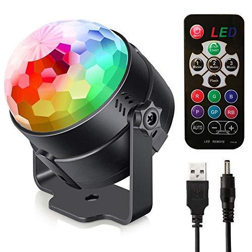 Bola de luz, la luz LED etapa luz de control remoto, la carga 5V luz de la bola del color, control de voz USB luces de colores luminosos que giran, partido de la familia, la fiesta de cumpleaños