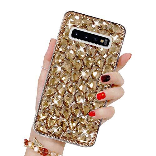 Bling Glitzer Hülle für Galaxy S10, Misstars 3D Diamant Strass Handyhülle Transparent Hart PC Rückschale mit Silikon TPU Rahmen Schutzhülle für Samsung Galaxy S10, Gold