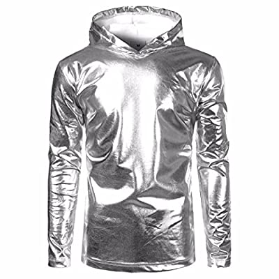 Wenjuan Stylish Attractive Men Hipster Top Patent Leather Hip Hop Pollover Hoodie Shirt Sweatshirts Jacket