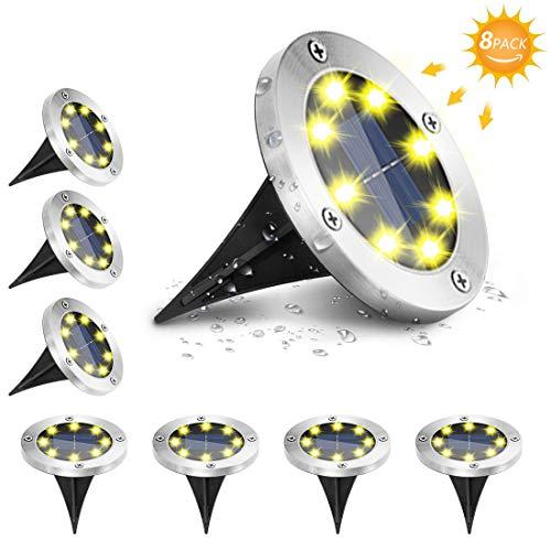 Solar Bodenleuchten,8LED Solarlampen für Außen gartenbeleuchtung Gartenleuchten für Außen solar gartenleuchte IP67 Wasserdicht Einbaustrahler Bodenleuchte für Rasen, Patio, Hof[Energieklasse A+++]