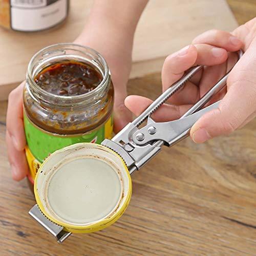 95sCloud Deckelöffner Schraubdeckelöffner Glas-Öffner Edelstahl Flaschenöffner Verstellbare Größe Öffnungshilfe Glasöffner für Schraubgläser Flaschen und Einmachgläser 19,5 x 3 cm