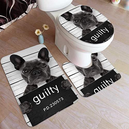 Bath Mat Criminal Mugshot French Bulldog Dog Police 3 Piece Bathroom Rug Set Includes Bath Rug,Contour Mat and Toilet Lid Cover,washroom Decor Bathroom Toilet Rug Non Slip Bath Rugs