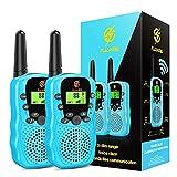 Dreamingbox Talkies Walkies Enfants Jeux pour Enfants Radio à 2 Voies avec 8 Canaux, Lampe de Poche LCD Rétro-éclairée (Bleu Clair)