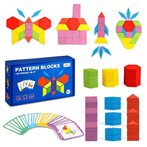 LBLA 155 Piezas Bloques de Patrones de Madera Tangram Juguetes Formas Geométricas Montessori Tangram Juguetes Educativos Juegos y Juguetes para niños con 24 Piezas Tarjetas de diseño
