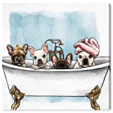 The Oliver Gal Artist Co. Animals Wall Art Canvas Prints 'Frenchies in The Tub' Dogs and Puppies Home Décor, 16