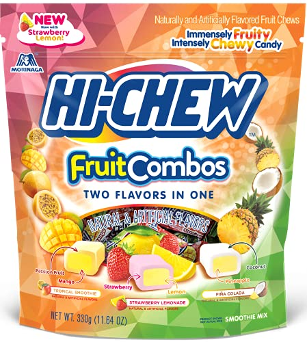 Hi-Chew Sensationally Chewy Japanese Fruit Candy, Fruit Combos Mix - Tropical Smoothie, Strawberry Lemonade and Piña Colada Flavors, 11.65 Ounce Stand Up Pouch