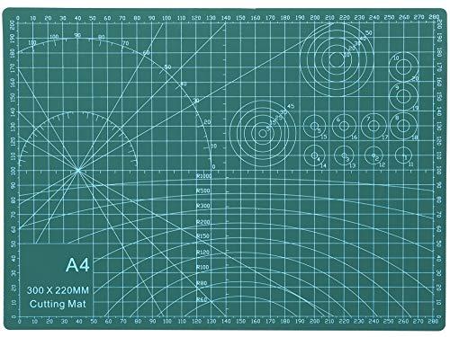 Rocoo カッターマット A1 A2 A3 A4 A5 カッティングマット 5層シート構造 両面印刷 傷自動癒合機能 3mm厚さ グリーン プラモデル用工具 下敷き デスクトップ保護 (グリーン, A4 (縦300×横220×厚さ3mm))