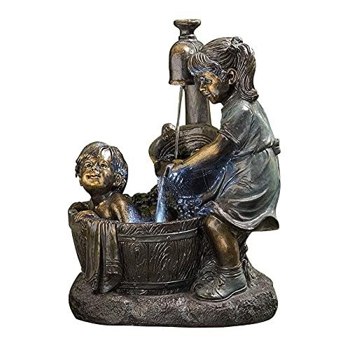 Gartenstatue für Jungen und Mädchen, Springbrunnen im Freien, Springbrunnen im Freien für den Patio-Gartenbrunnen im Freien, Statuenverzierungen im Freien für den Hausgarten Home