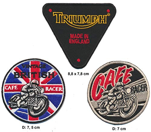 motome rchco mpany British Cafe Racer Triumph Parche 3Pieza Motocicleta Biker Bobber England Turbo Envío