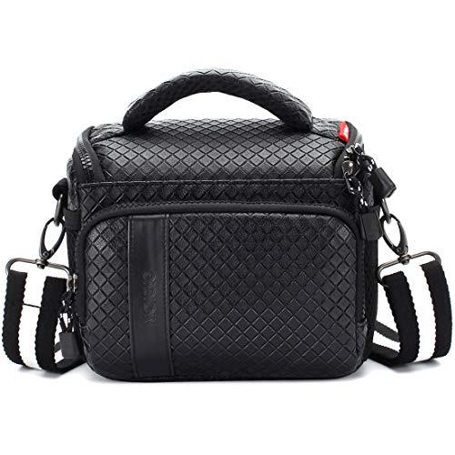 MCHENG Waterproof PU Leather Camera Bag for Canon Nikon Sony Panasonic Olympus Fujifilm Digital Cameras, Black