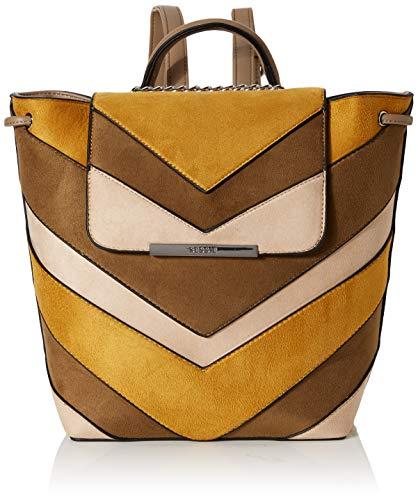 Bessie LondonSuede Colour Block Drawstring BackpackDamenRucksackhandtascheGelb (Yellow)13x28x30 Centimeters (W x H x L)