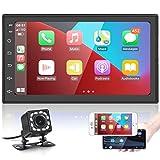 Android Radio Coche 2 DIN con Carplay inalámbrico y Android Auto, 7 Pulgadas Pantalla táctil Autoradio con Bluetooth / WiFi/ Navi GPS / Radio FM RDS / USB +cámara Trasera, Reproductor de Coche