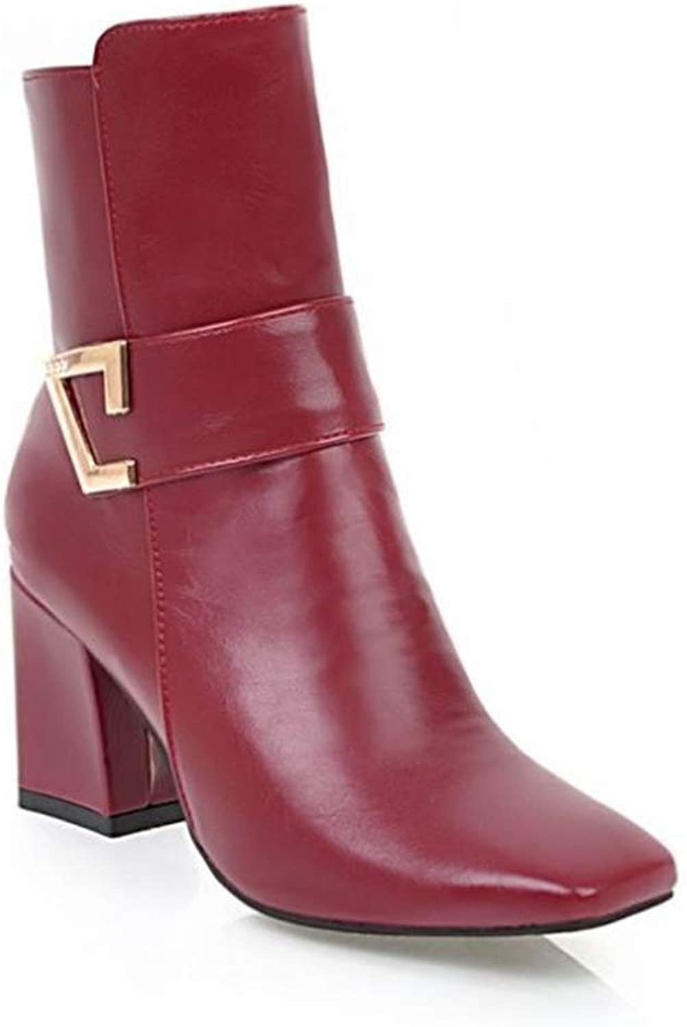 Super color Fashion Women's Pointed Toe Leather Buckle Strap Block Heel Ankle Booties