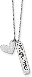 Lex & Lu Sterling Silver w/Rhodium Heart Love You More Necklace 18""