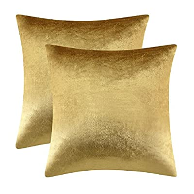 GIGIZAZA Gold Velvet Decorative Throw Pillow Covers,18x18 Pillow Covers for Couch Sofa Bed 2 Pack Soft Cushion Covers by GIGIZAZA Textile