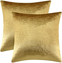 Gold Velvet Decorative Throw Pillow Covers,18x18 Pillow Covers for Couch Sofa Bed 2 Pack Soft Cushion Covers