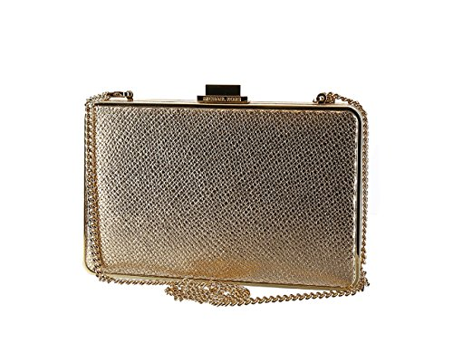 """6-3/4""""W x 4-1/4""""H x 1-1/2""""D (width is measured across the bottom of handbag) 22-1/2""""L removable strap 1 interior credit card slot Shiny rhodium- or gold-tone exterior hardware; varies by color Leather; lining: polyester"""