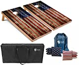 6. Tailgating Pros American Flag Wooden Plank Design Cornhole Board Set w/Bean Bags and Carrying Case - 4'x2' Corn Hole Toss Game - Optional LED Lights