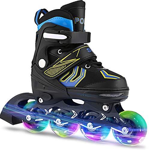 WeSkate Inline-Skates mit blinkenden Rollen Verstellbarer Inline-Skate für Kinder und Erwachsene
