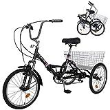 MOPHOTO Adult Folding Bike Tricycle 7 Speed 20 Inch Three Wheel Bike Cruiser Trike with Low-Step Through Frame/Large Basket/Adjustable Seat (Pot Black, 24' Folding 7-Speed)