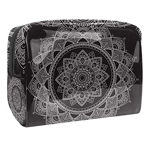 Portable Makeup Bag with Zipper Travel Toiletry Bag for Women Handy Storage Cosmetic Pouch Boho Mandala Vintage Floral