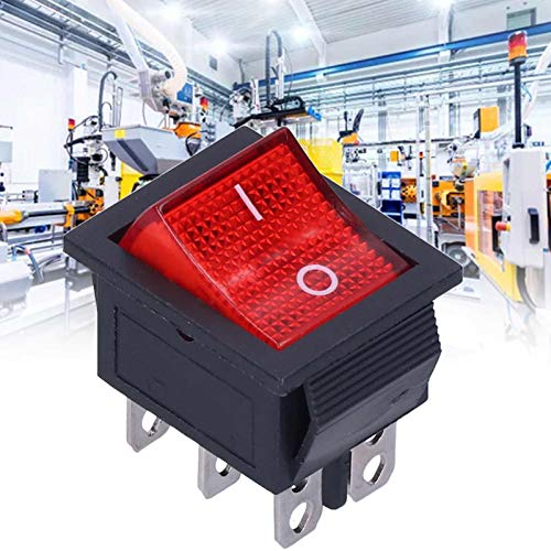 Interruptor basculante, interruptor basculante de encendido/apagado de 6 pines y 2 niveles con luz para coche eléctrico para luces para electrodomésticos