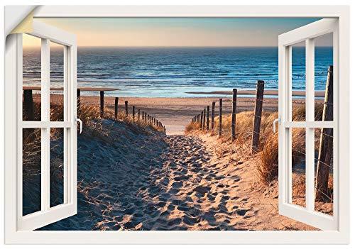 Artland Wandbild selbstklebend Vinylfolie 100x70 cm Wanddeko Wandtattoo Fensterblick Fenster Strand Meer Landschaft Nordsee Maritim T6BV